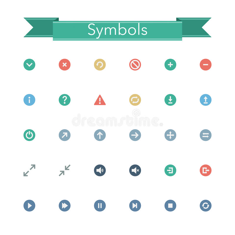 Icone piane di simboli illustrazione vettoriale