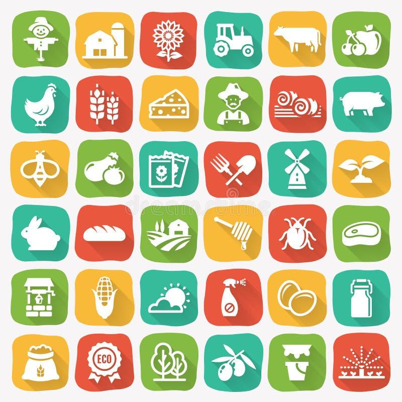 Icone piane di vettore di agricoltura e di azienda agricola illustrazione vettoriale