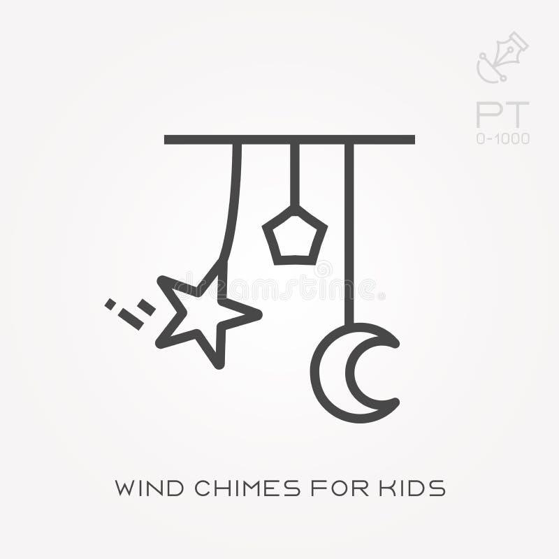 Icone piane di vettore con i carillon di vento per i bambini illustrazione di stock