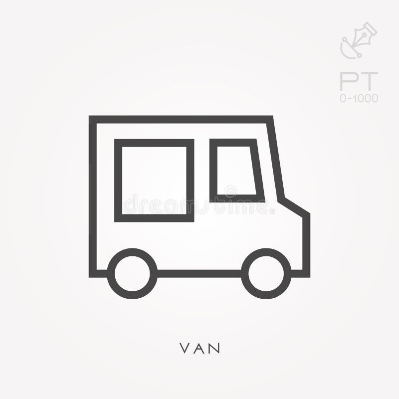 Icone piane di vettore con il furgone illustrazione vettoriale