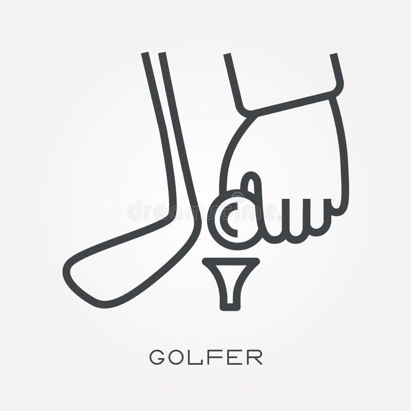 Icone piane di vettore con il giocatore di golf royalty illustrazione gratis