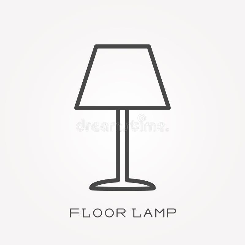 Icone piane di vettore con la lampada di pavimento royalty illustrazione gratis