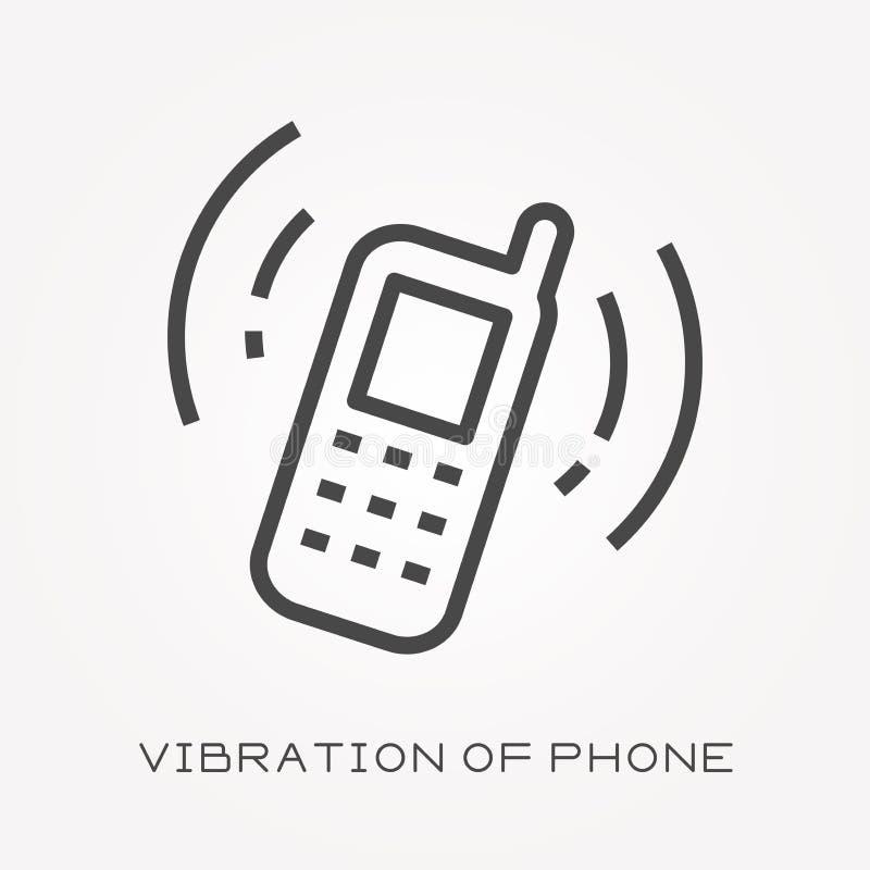 Icone piane di vettore con la vibrazione del telefono illustrazione vettoriale
