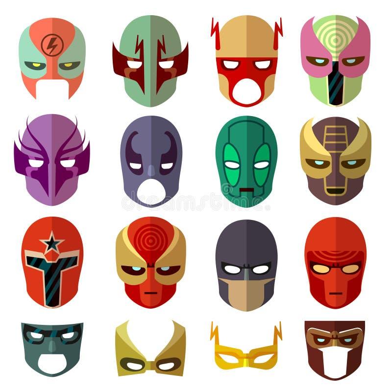 Icone piane di vettore dei caratteri della maschera dell'eroe illustrazione vettoriale