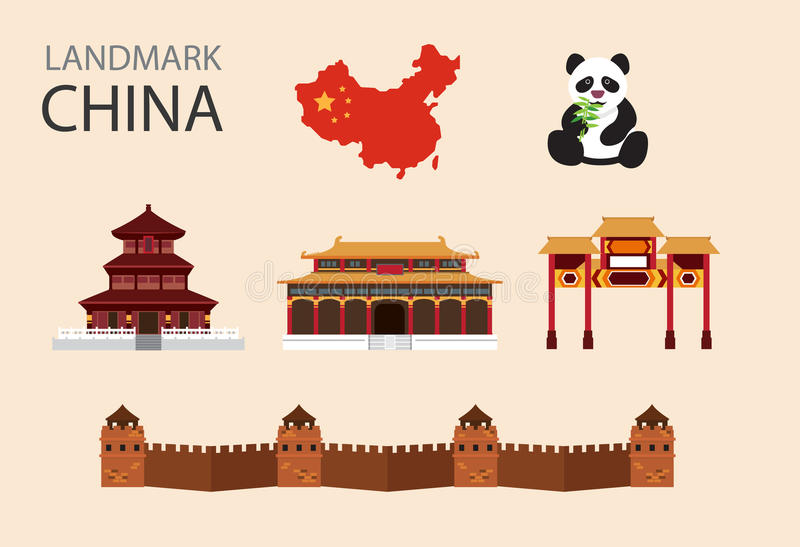 Icone piane di vettore della Cina messe illustrazione di stock