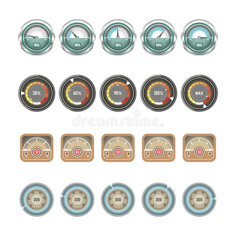 Icone piane di vettore delle esposizioni degli indicatori e dei tachimetri illustrazione di stock