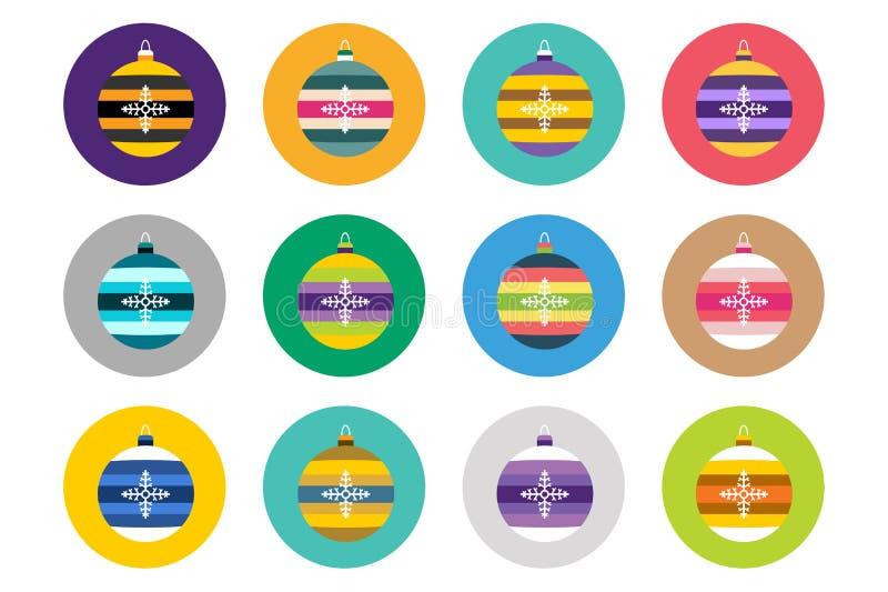 Icone piane di vettore delle palle variopinte di natale messe royalty illustrazione gratis