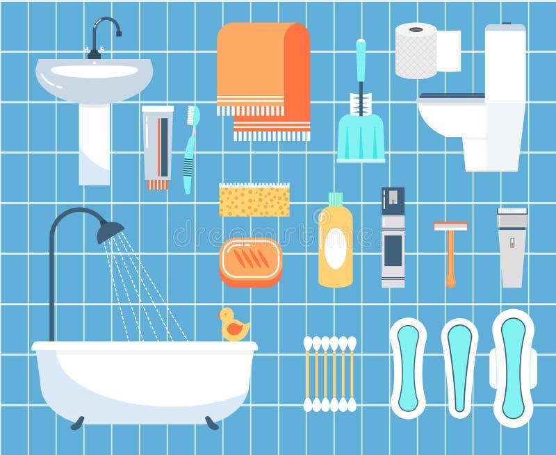 Icone piane di vettore di igiene personale messe - Piane del bagno ...