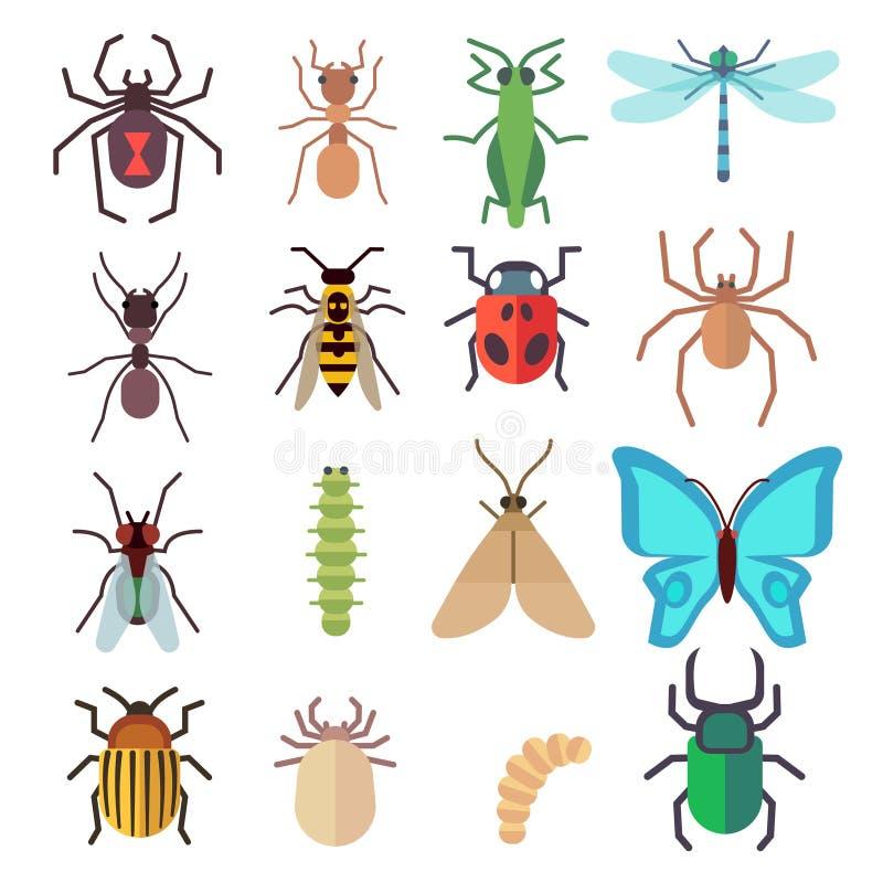 Icone piane di vettore di insetto messe royalty illustrazione gratis