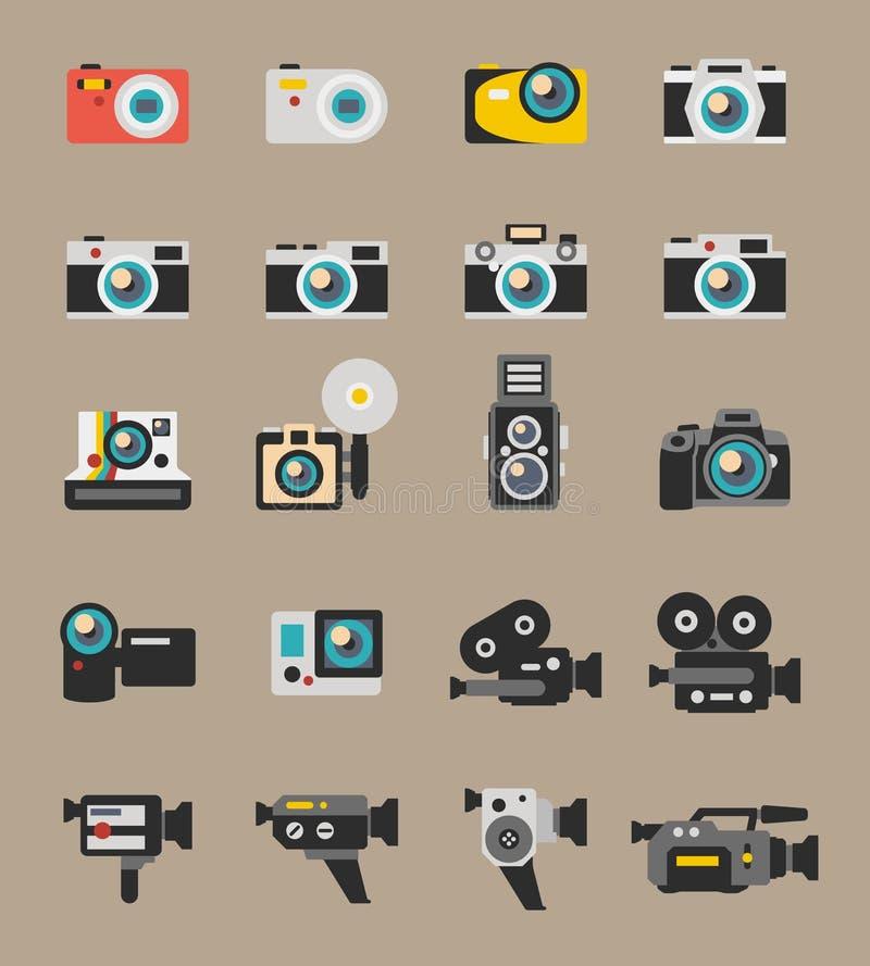 Icone piane di vettore e del foto della videocamera illustrazione di stock