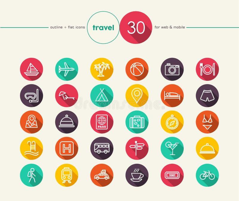 Icone piane di viaggio messe illustrazione vettoriale