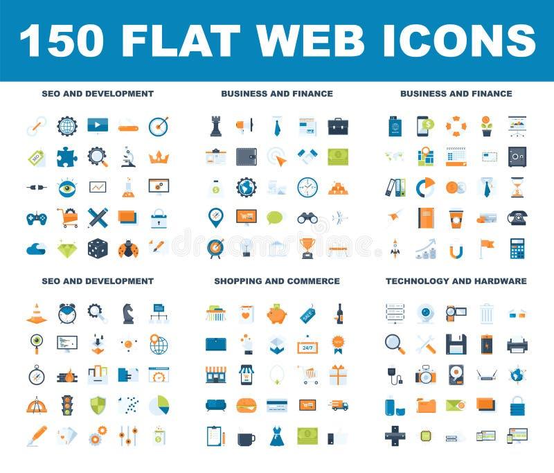Icone piane di web royalty illustrazione gratis