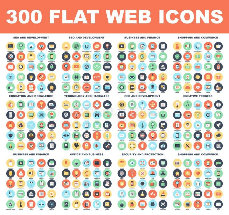 Icone piane di web illustrazione vettoriale