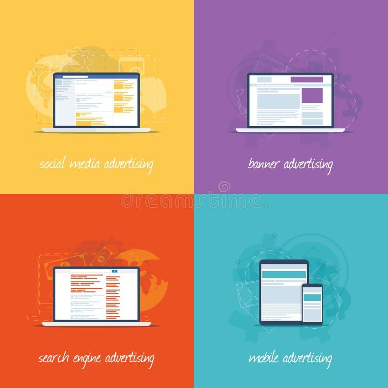 Icone piane di web design per il conce di vendita di Internet illustrazione vettoriale