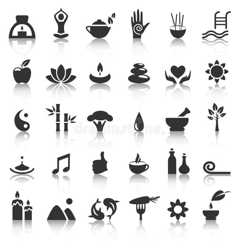 Icone piane di zen di yoga della stazione termale con la riflessione su bianco royalty illustrazione gratis