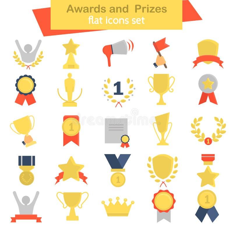 Icone piane differenti di colore dei premi e dei premi messe illustrazione vettoriale