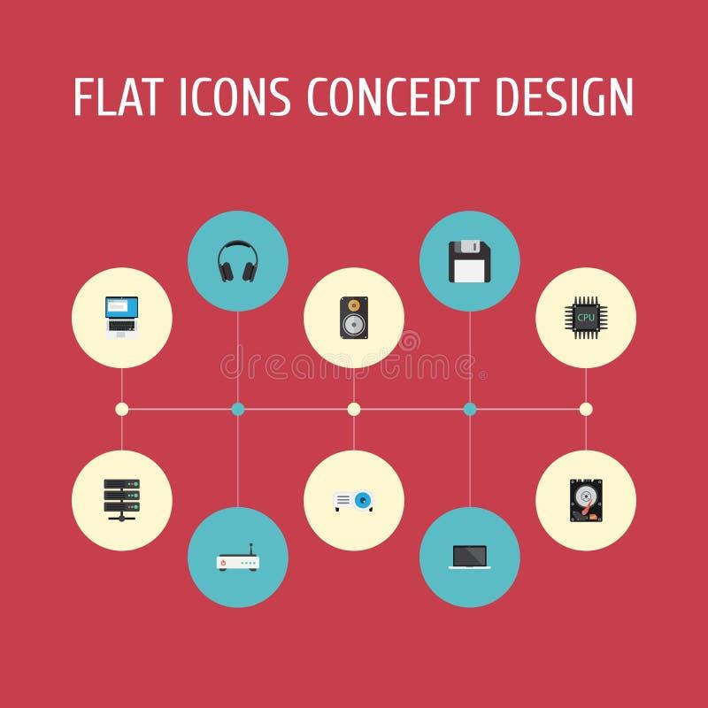 Icone piane dischetto, amplificatore, disco rigido ed altri elementi di vettore L'insieme dei simboli piani delle icone del compu illustrazione di stock