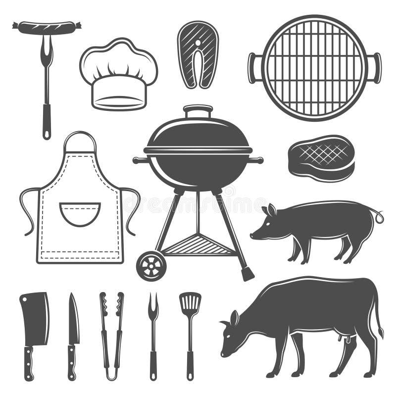 Icone piane grafiche decorative del BBQ messe illustrazione vettoriale