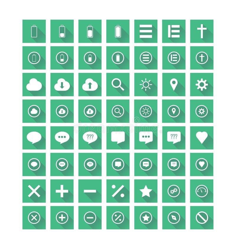 Icone piane messe illustrazione vettoriale
