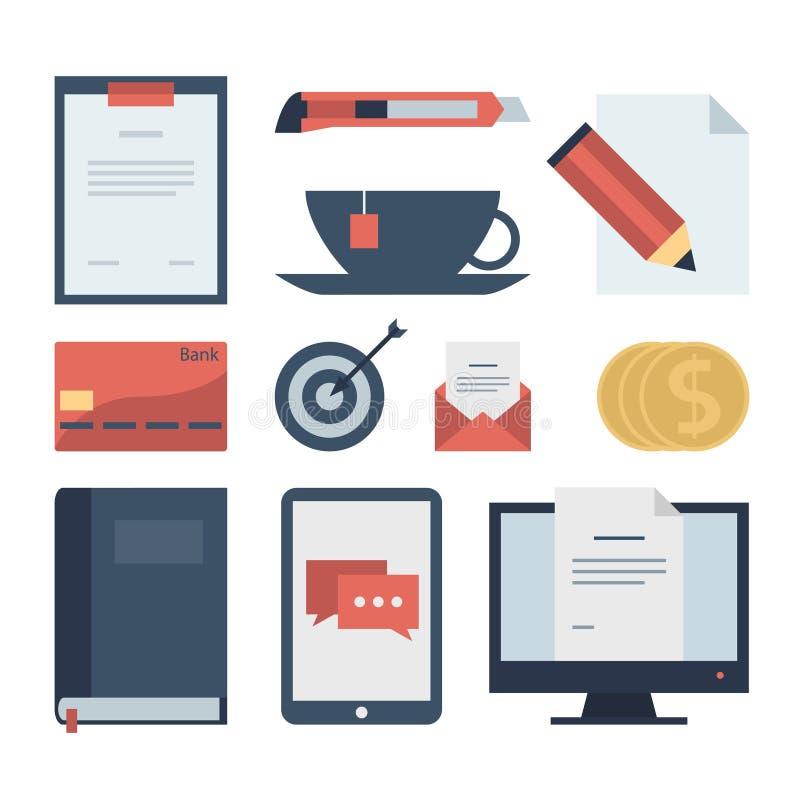 Icone piane moderne raccolta, oggetti di web design, affare, finanza, ufficio e oggetti di vendita illustrazione vettoriale