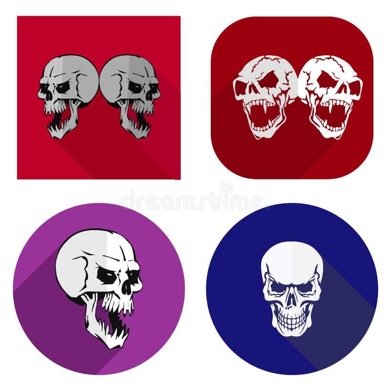Icone piane per il sito Web, crani aggressivi, su fondo bianco, illustrazione vettoriale