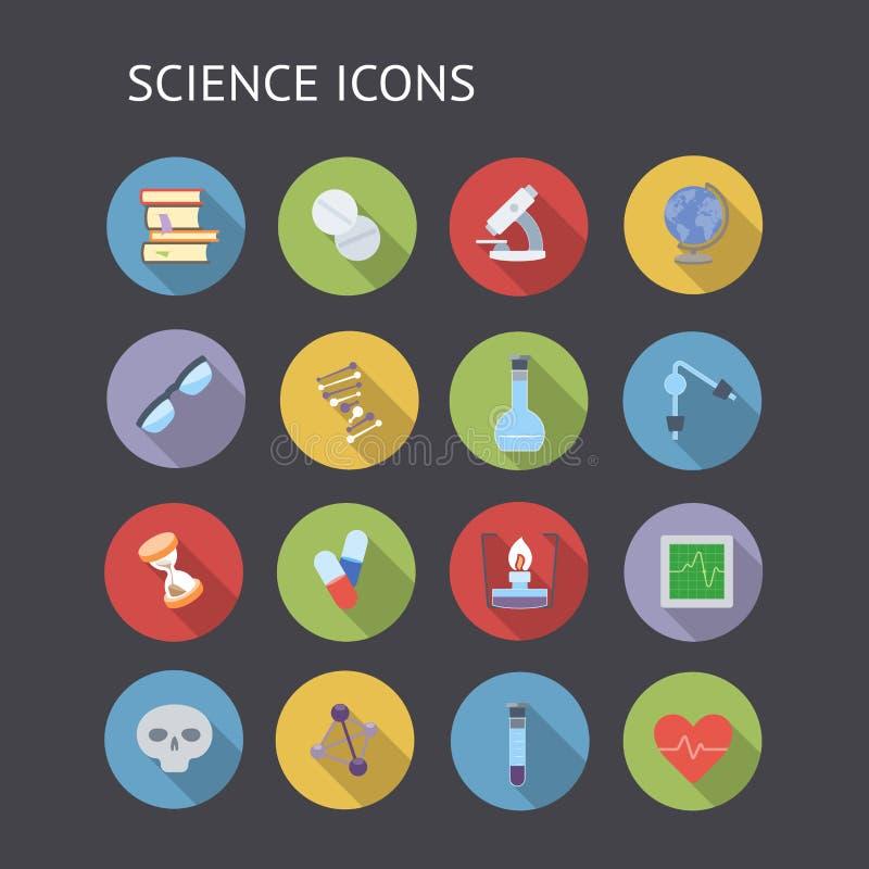 Icone piane per istruzione e scienza illustrazione di stock