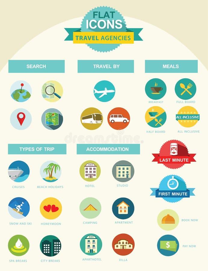 Icone piane per le agenzie di viaggi illustrazione vettoriale
