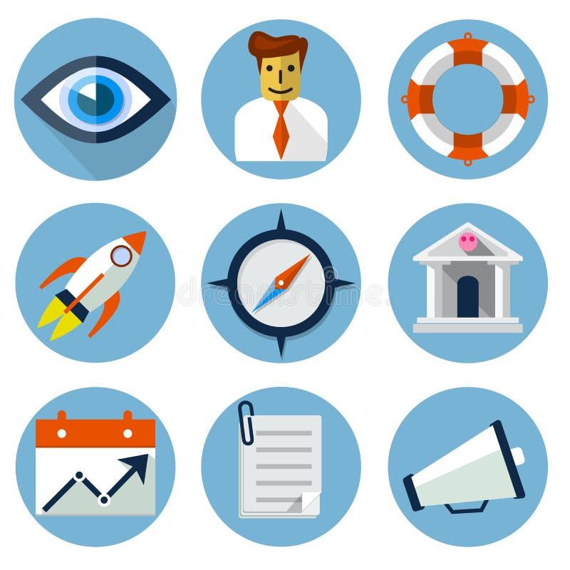 Icone piane per le applicazioni del cellulare e di web illustrazione di stock