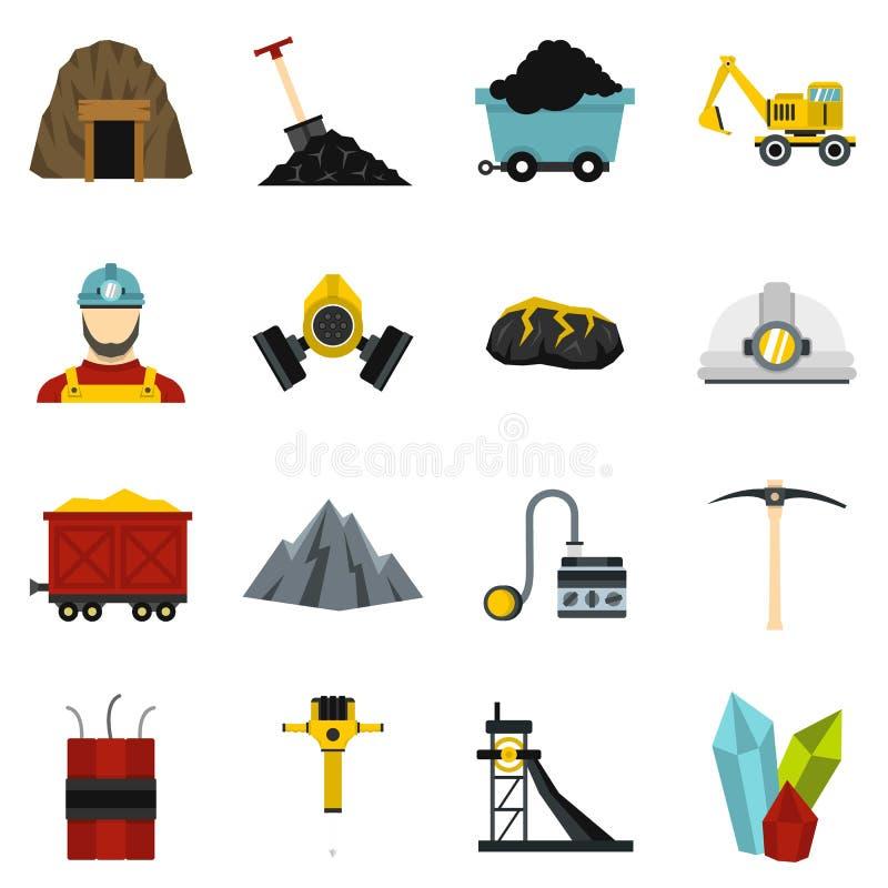 Icone piane stabilite del minatore illustrazione vettoriale