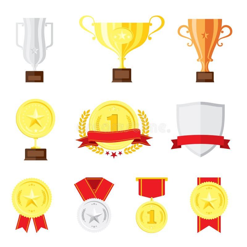 Icone piane stabilite di progettazione del vincitore illustrazione vettoriale