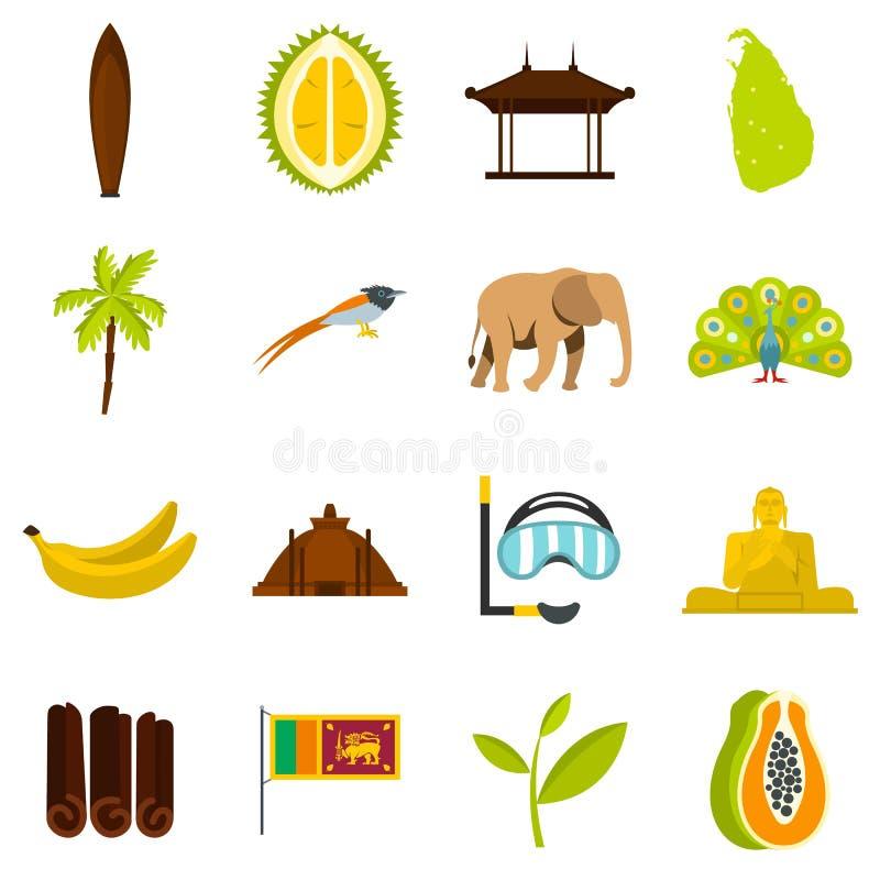Icone piane stabilite di viaggio dello Sri Lanka illustrazione vettoriale