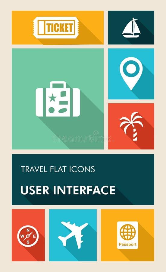 Icone piane variopinte dell'interfaccia utente dei apps di viaggio UI. illustrazione vettoriale