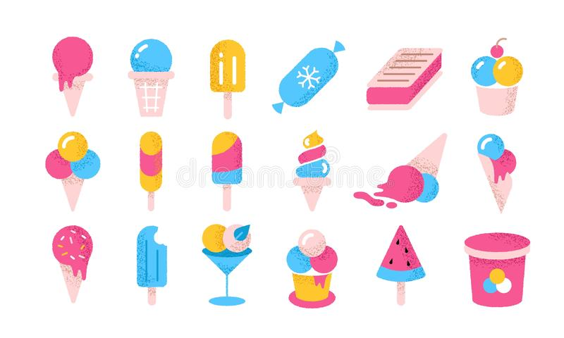 Icone piatti a base di gelato Vignetta yogurt congelato e creme in tazze di coni e secchi Vector Summer... un dolce freddo royalty illustrazione gratis