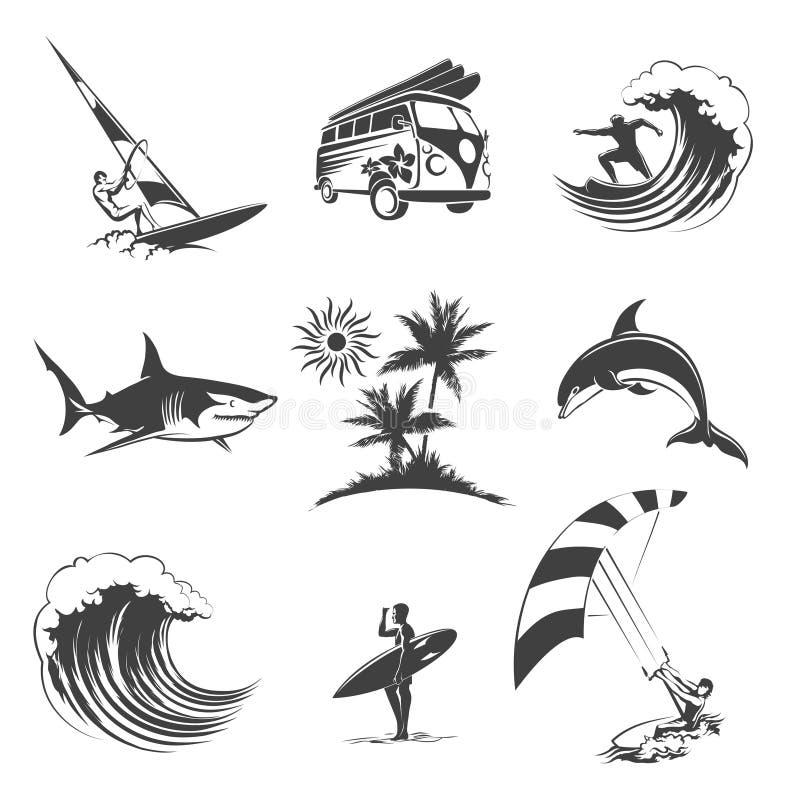 Icone praticanti il surfing messe illustrazione di stock