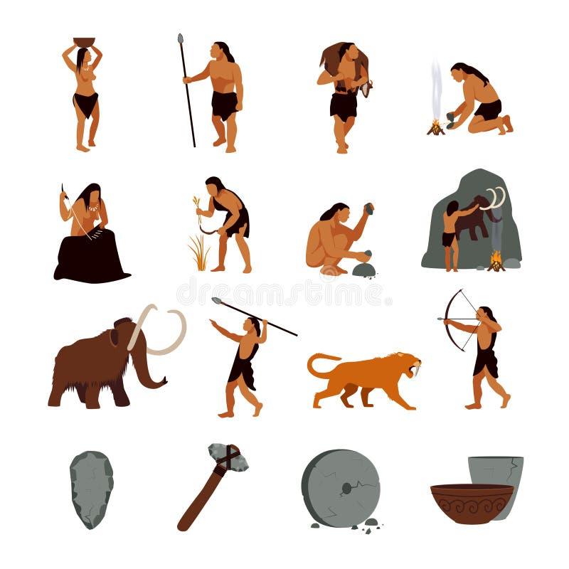Icone preistoriche del cavernicolo di età della pietra illustrazione di stock