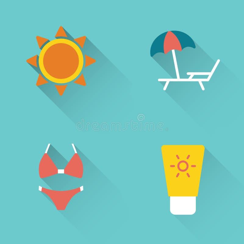 Icone prendenti il sole di estate piana su fondo blu illustrazione di stock