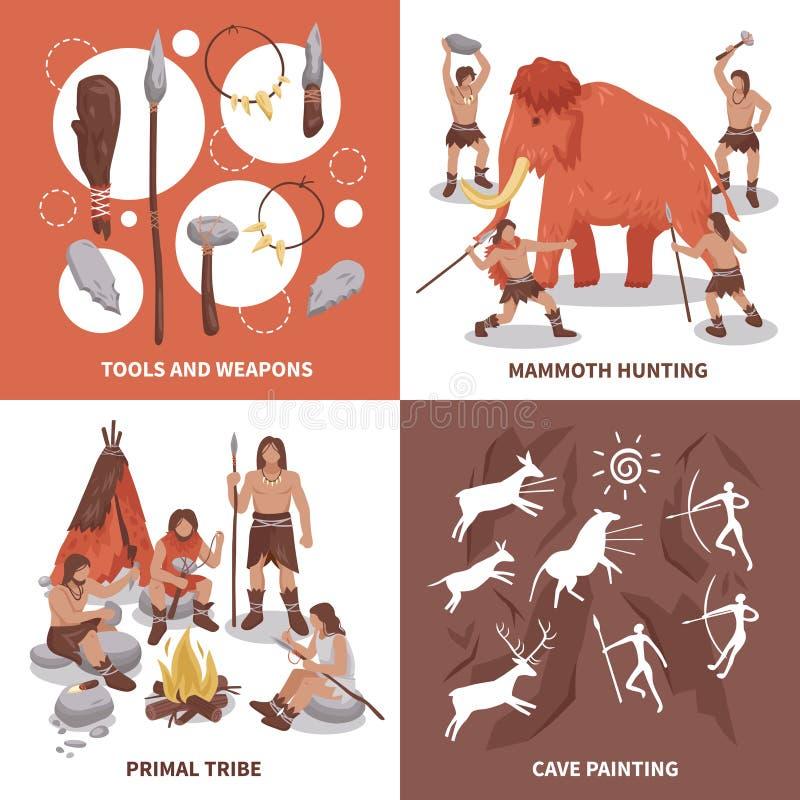 Icone principali di concetto della gente della tribù messe illustrazione vettoriale
