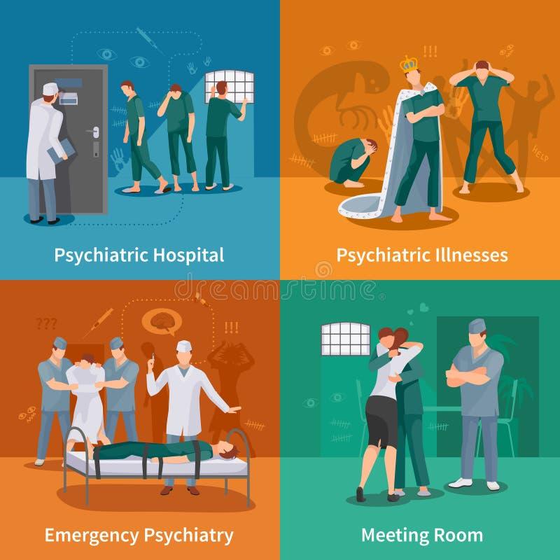 Icone psichiatriche di concetto di malattie messe illustrazione di stock
