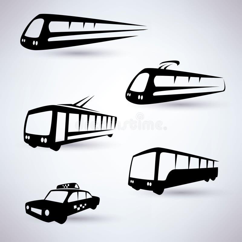 Icone pubbliche di trasporto della città messe illustrazione di stock