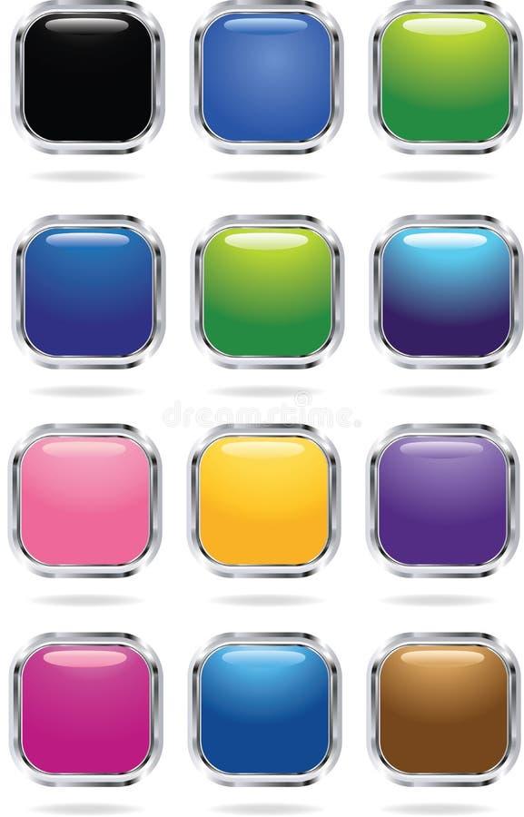 Icone quadrate illustrazione vettoriale
