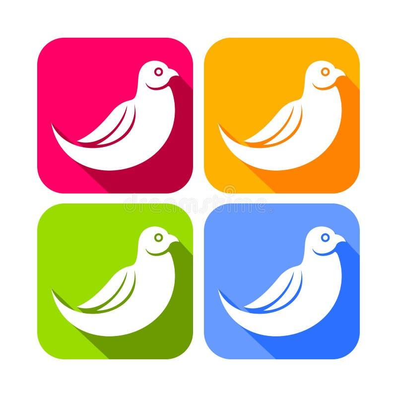 Icone quadrate arrotondate colore dell'uccello della colomba dell'estratto illustrazione vettoriale