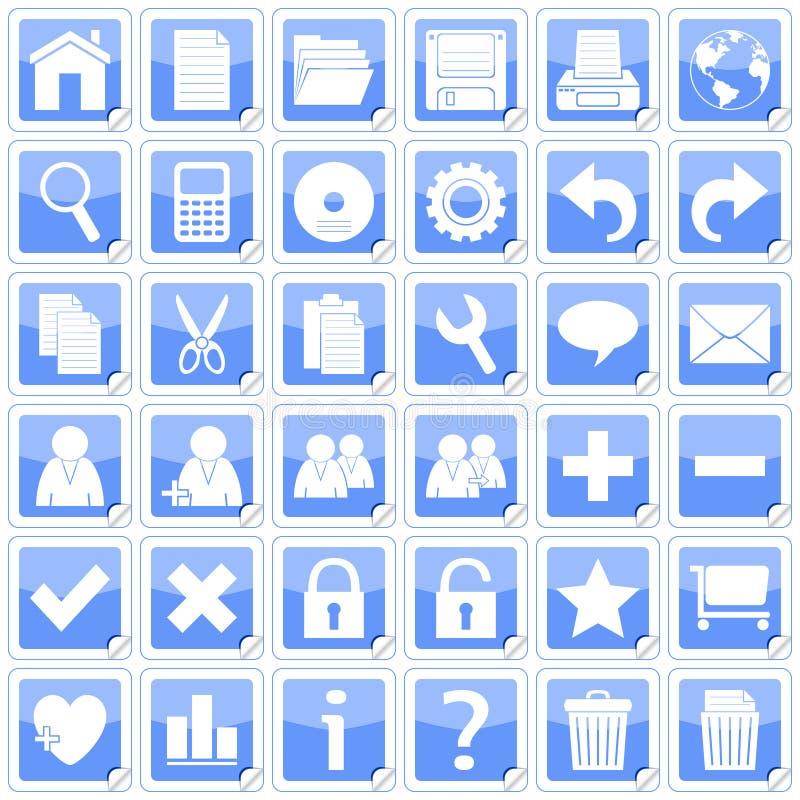 Icone quadrate blu degli autoadesivi [1] royalty illustrazione gratis