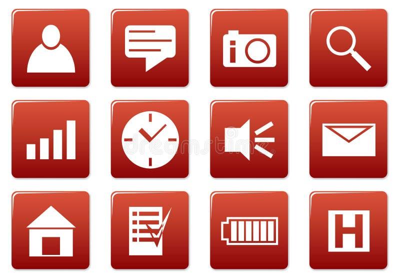 Icone quadrate del dispositivo impostate. illustrazione di stock