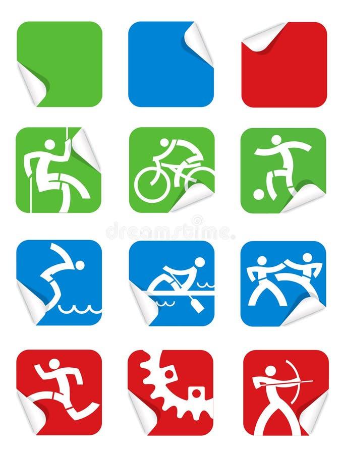 Icone quadrate di sport dell'autoadesivo illustrazione di stock