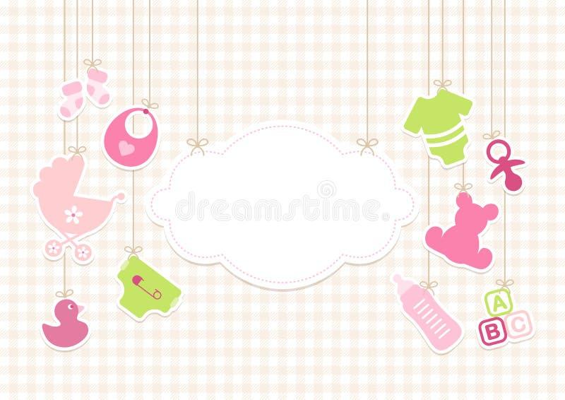 Icone ragazza del bambino della carta e beige della verifica degli antecedenti della nuvola illustrazione vettoriale
