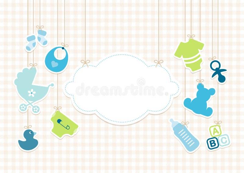 Icone ragazzo del bambino della carta e beige della verifica degli antecedenti della nuvola illustrazione di stock