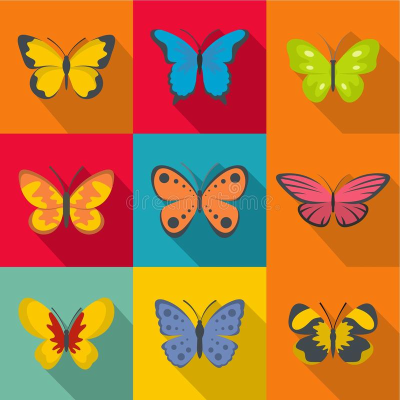 Icone rare messe, stile piano della farfalla illustrazione di stock