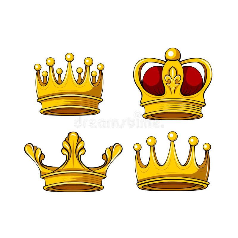 Icone reali della corona del fumetto messe Vector re, la regina, principe, attributi di principessa Elementi di disegno Vettore illustrazione di stock