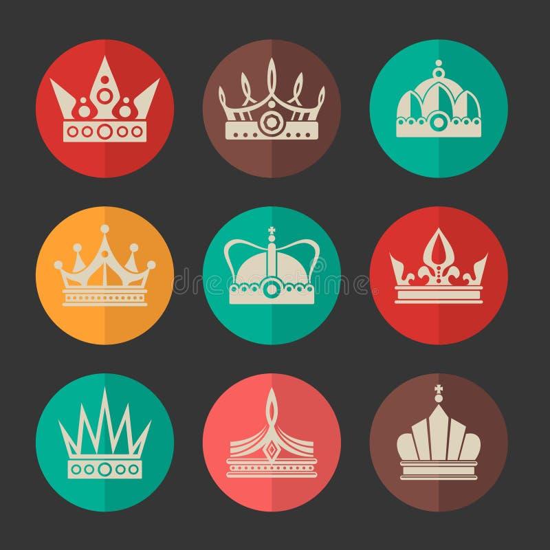 Icone reali delle corone di vettore messe illustrazione di stock