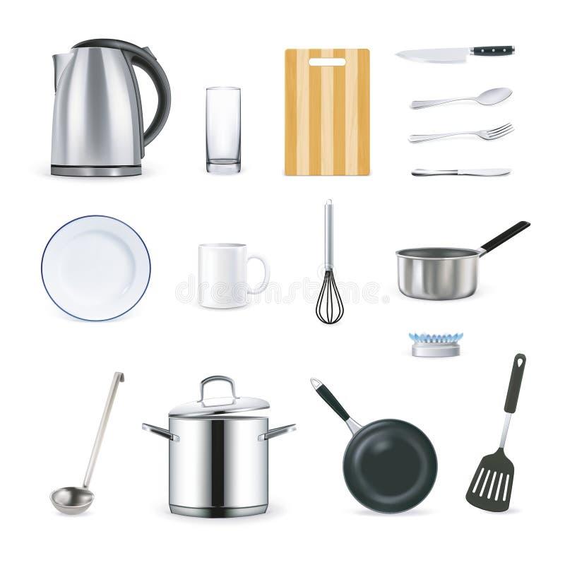 Icone realistiche degli utensili della cucina royalty illustrazione gratis